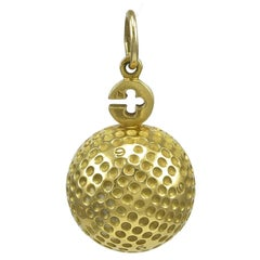 Asprey Large Gold Golf Ball Pendant Charm