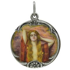 Art Nouveau Enamel Silver Locket