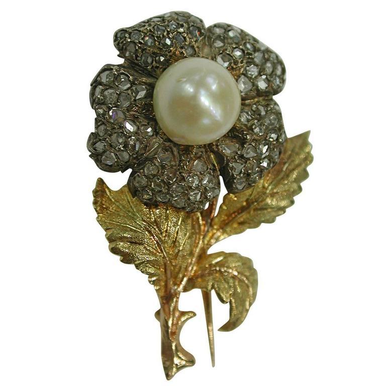 1990s Buccellati Diamond Cultured Pearl Brooch