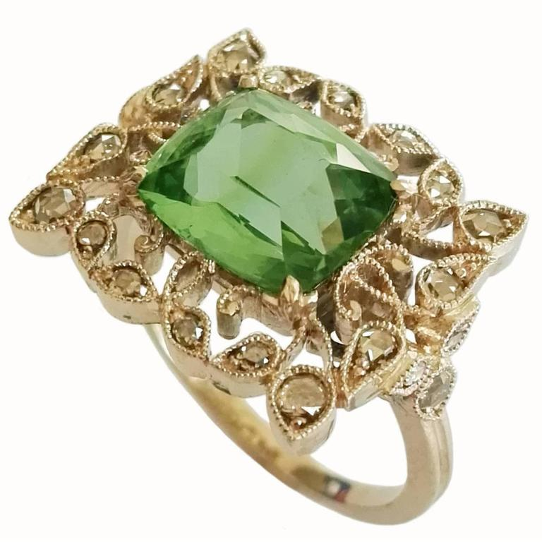 Dalben Green Tourmaline Rose Cut Diamond Gold Fashion Ring For Sale