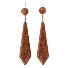 Sparkling Sterling Goldstone Pendant Earrings