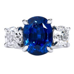 GIA Cert 10.16 Carat Vivid Blue Sapphire and Diamond Platinum Ring Size 5.5