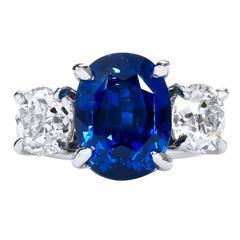 10.16 Carat GIA Cert Vivid Blue Sapphire Diamond Platinum Ring