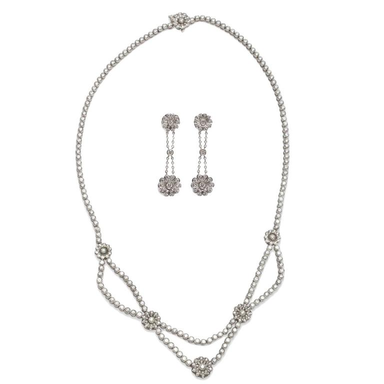 Tiffany & Co. Diamond Platinum Necklace and Earring Set