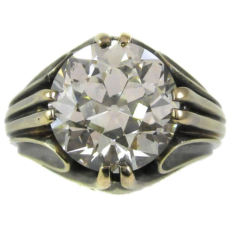 Art Deco 5 58 Carat Old European Cut GIA Certified Diamond Gold Ring For Sale