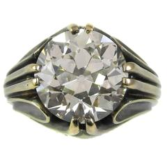 Art Deco 5.58 Carat Old European Cut GIA Certified Diamond Gold Ring