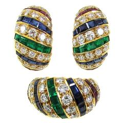 1970s Cartier London Precious Gem Turban Ring Earclips Set
