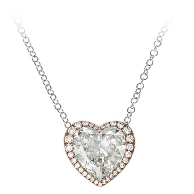 10.67 Carat Heart Shaped Diamond Gold Pendant