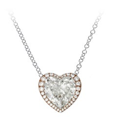 10.67 Carat Heart Shaped Diamond Gold Pendant