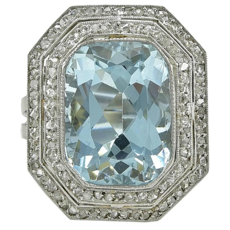 Edwardian Aquamarine Diamond Platinum Ring 1