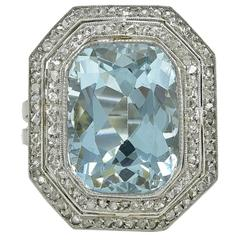 Edwardian Aquamarine Diamond Platinum Ring