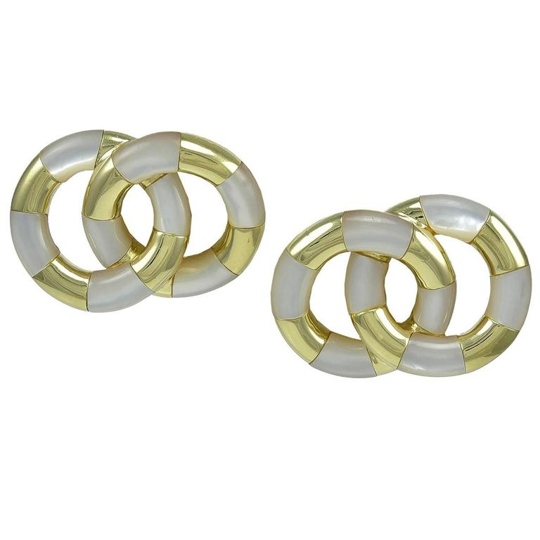 Angela Cummings Mother-of-Pearl Gold Circles Earrings