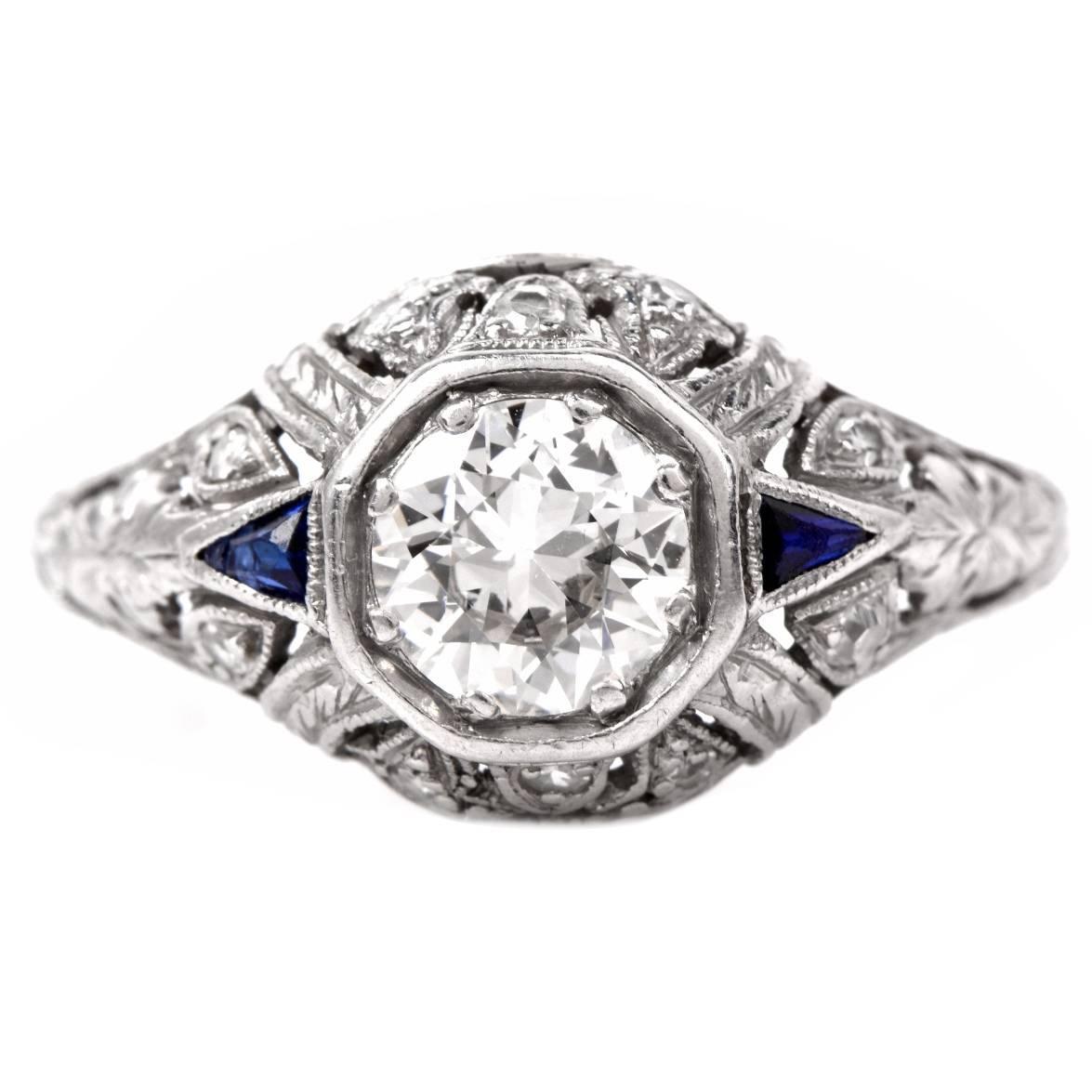 antique platinum engagement ring at 1stdibs