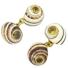 Trianon Shell Citrine Gold Cufflinks