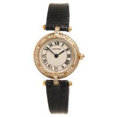 Cartier Lady's Yellow Gold Diamond Vendome quartz wristwatch