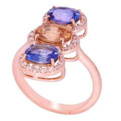 Beautiful Trio of Sapphires Diamond Gold Cluster Ring