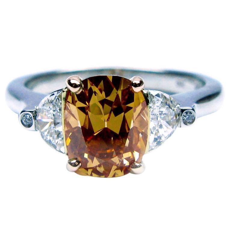 1.57 Carat Fancy Color Cushion Diamond engagement ring