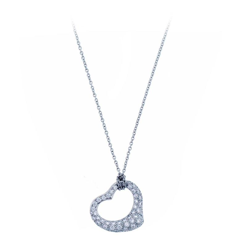 Tiffany & Co. Elsa Peretti Open Heart Diamond platinum Pendant