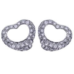 Tiffany & Co. Elsa Peretti Open Heart Diamond Platinum Pendant