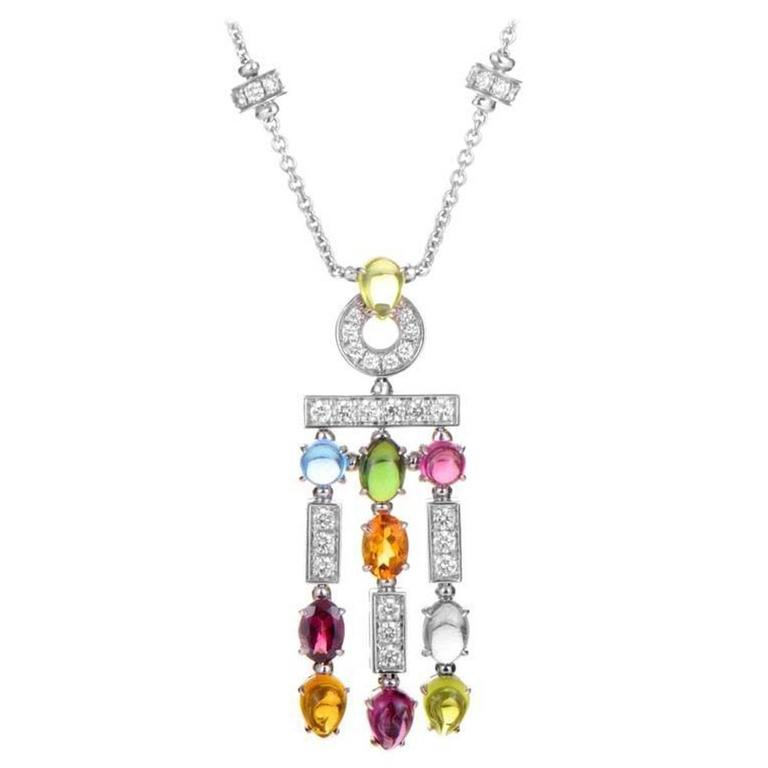 Bulgari Allegra Multi Gemstone Gold Drop Necklace For Sale