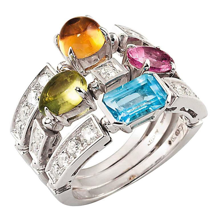 Bulgari Allegra Colour Collection Three Band Gemstone Gold Ring For Sale