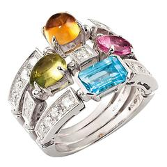 Bulgari Allegra Colour Collection Three Band Gemstone Gold Ring