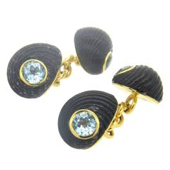 Trianon Aquamarine Shell Gold Cufflinks
