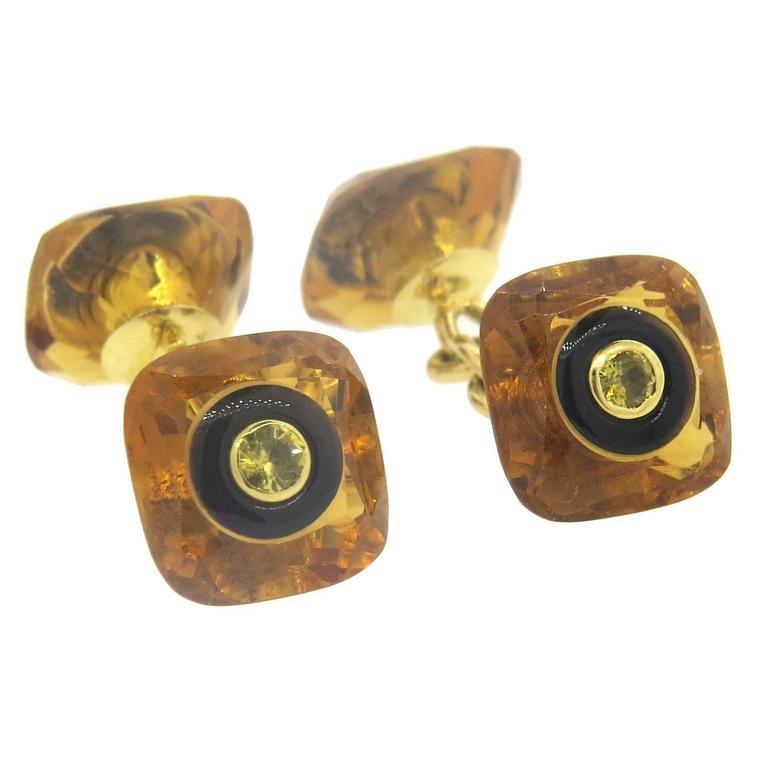 Trianon Citrine Onyx Gold Cufflinks