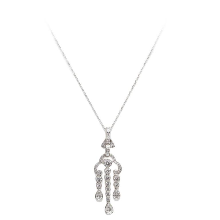 Tiffany & Co. Diamond Platinum Pendant Necklace