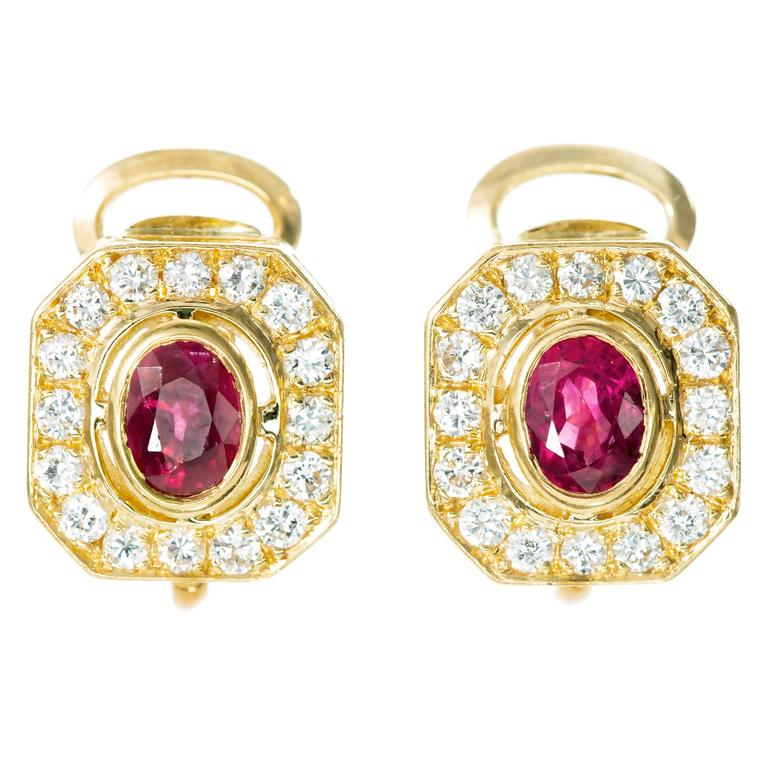 Red Oval Ruby Diamond Gold Earrings For Sale