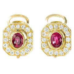 Red Oval Ruby Diamond Gold Earrings