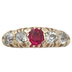 1910s Diamond and Synthetic Ruby Yellow Gold Cocktail Ring