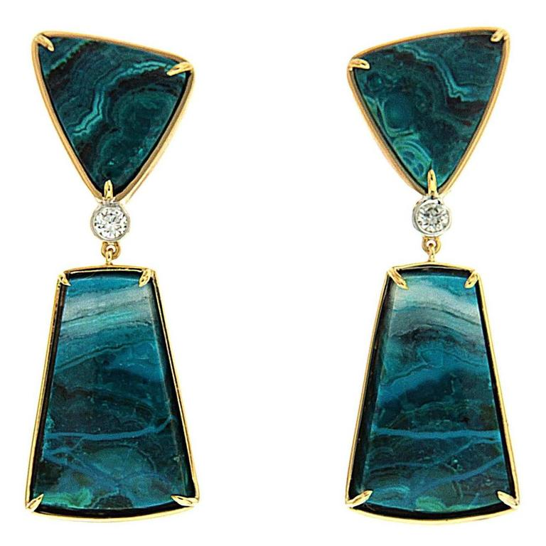 Chrysocolla Malachite Diamond Gold Dangle Earrings For Sale