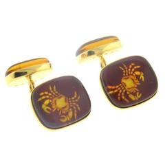 Trianon Amber Gold Cancer Zodiac Sign Cufflinks