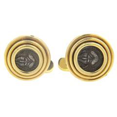 Bulgari Monete Ancient Coin Gold Cufflinks Thrace - Mesembria, 5th 4th Cent B.C.