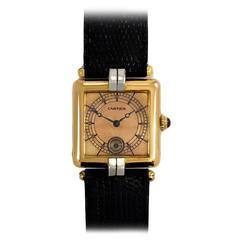 Cartier Lady's Platinum Rose Gold Square Bezel Wristwatch