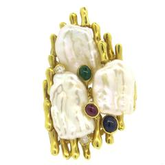 Pearl Ruby Sapphire Emerald Diamond Large Gold Ring
