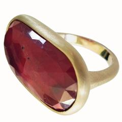 Dalben Faceted Sapphire Satin Gold Ring