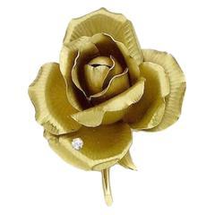1960s Cartier Diamond gold Rose brooch