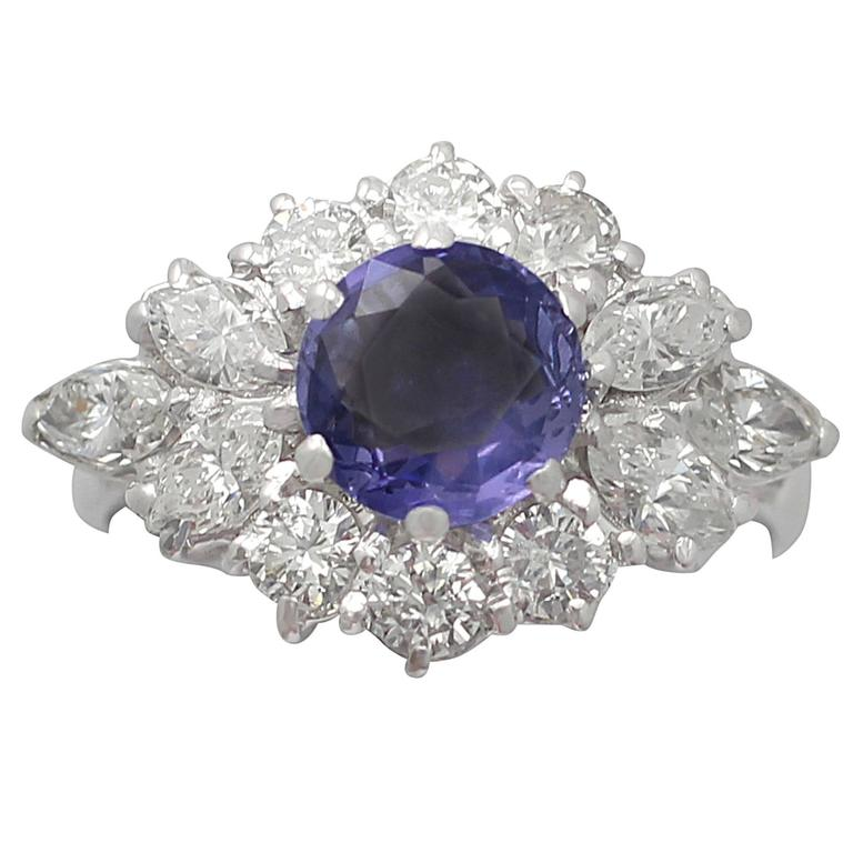 1970s 1.15 Carat Sapphire and 1.65 Carat Diamond, 18k White Gold Cluster Ring 1