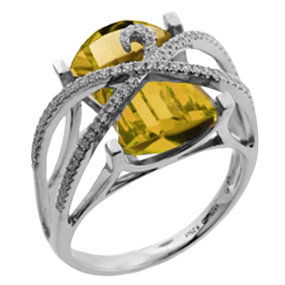 Awesome Citrine and Diamond Gold Cocktail Ring Estate Fine Jewelry