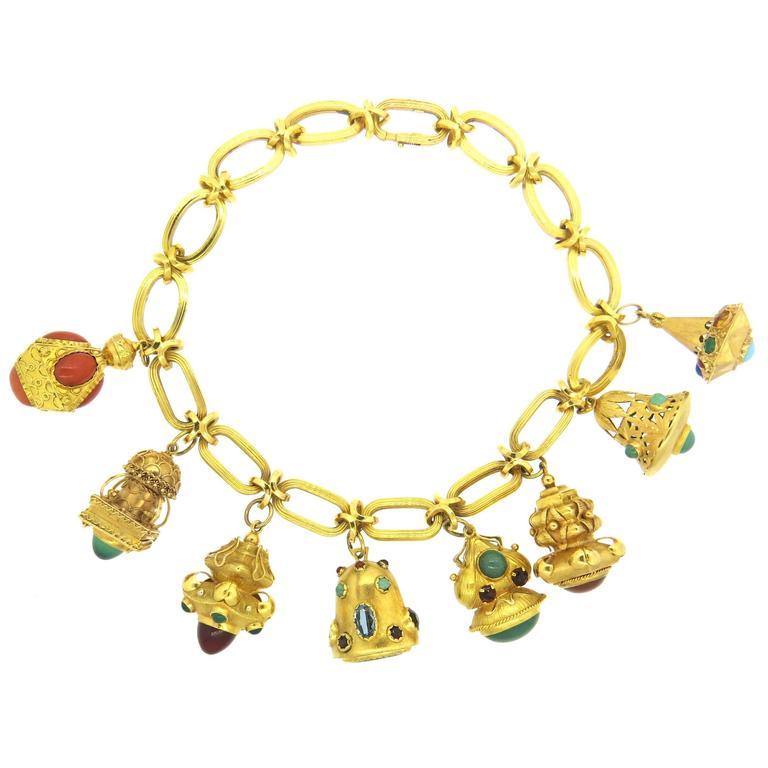 impressive large multicolor gemstone gold charm necklace