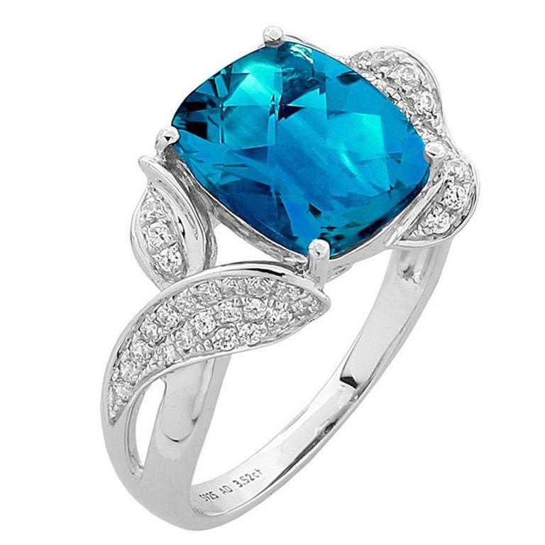 Classic Swiss-Blue Topaz Diamond Ring 1