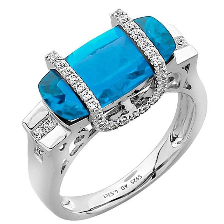 Swiss Blue Topaz Diamond Gold Statement Ring