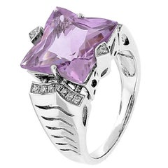 Star Facet Rose de France Amethyst Diamond Gold Ring Estate Fine Jewelry