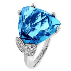 Swiss Blue Topaz Diamond Gold Ring Estate Fine Jewelry