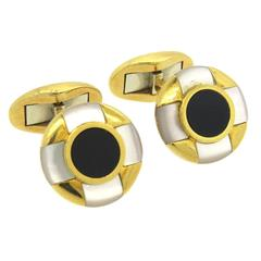 Tiffany & Co Mother of Pearl Onyx Gold Cufflinks