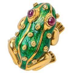 David Webb Enamel Ruby Gold Lucky Frog Pin