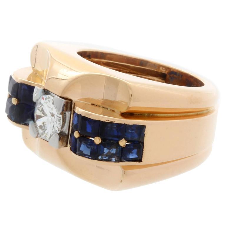 Boucheron Sapphire Diamond Gold Cocktail Ring