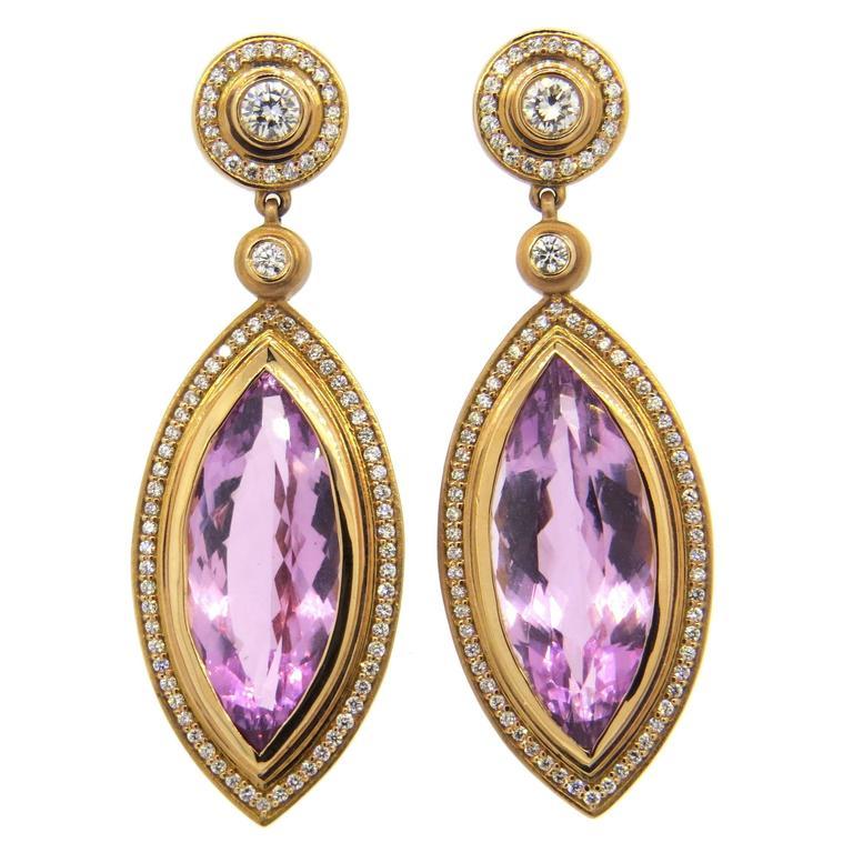 Impressive Sam Lehr Kunzite Diamond Gold Drop Earrings